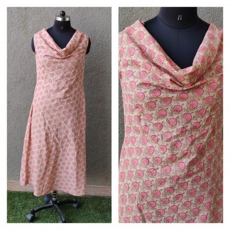 Peach Block Printed Dress