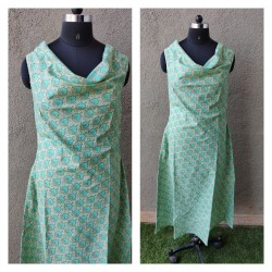 Sea Green Block Printed Cowl Dress