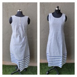 Blue and White Pinstripe Dress