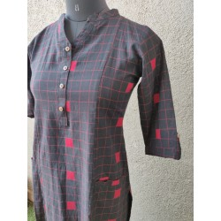 Grey and white checks kurta