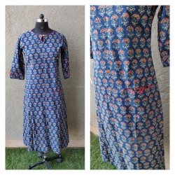 Blue and red A-line kurta