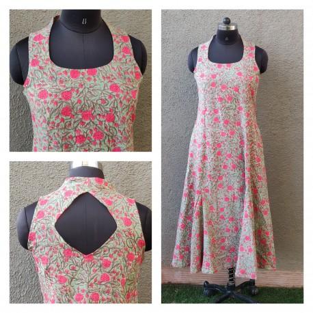 Sea green floral dress