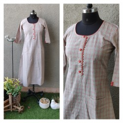 Grey and Orange Checks Kurti