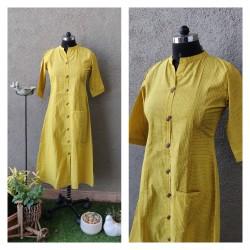 Yellow Pinstripe Kurti