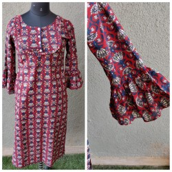 Red and Blue Block Print Kurta
