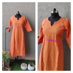 Orange Mangalgiri Kurta