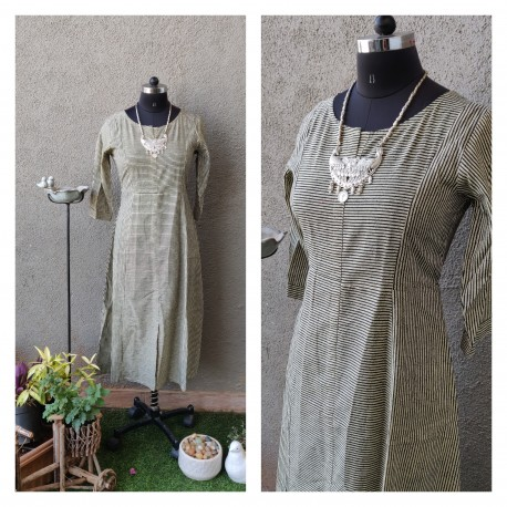 Black and Beige pinstripe Dress