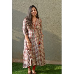 Beige and Red Block Print kurta