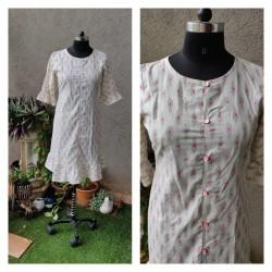 White & Pink Ikkat Short Dress