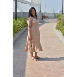 Beige Ikkat Long Dress